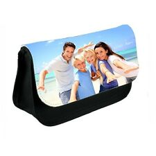 Personalised Any Photo Design Black Canvas Pencil Case Or Make-Up Bag