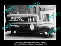 OLD 8x6 HISTORIC PHOTO OF SAVANNAH GEORGIA THE POLICE DEPARTMENT VAN c1950