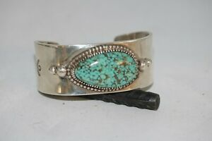 NAVAJO CUFF BRACELET WITH CARICO LAKE TURQUOISE, STERLING, SIGNED; D.CLARK