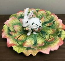 Fitz and Floyd Classics Le Lapin Chip & Dip Bowl Bunny Rabbit Easter