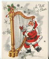 VINTAGE CHRISTMAS SANTA CLAUS PLAYING HARP SILVER ILLUMINATED MCM GREETING CARD