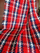 NEW HANDMADE CROCHET RED, WHITE AND BLUE PLAID    AFGHAN LAP BLANKET THROW