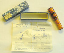 Tortoise celluloid PLI powder puff with box & directions Modele Depose ca 1920s