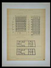 PARIS, 11 RUE BRIDAINE - 1895 - 2 GRANDES LITHOGRAPHIES- BRUNEAU, ARCHITECTURE