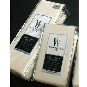 IVORY Wamsutta Cool Touch Percale 350 TC QUEEN Flat Sheet & Standard Pillowcases