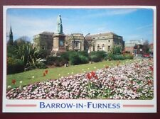 POSTCARD CUMBRIA BARROW IN FURNESS - RAMSDEN SQUARE & LIBRARY