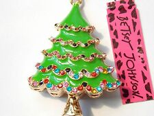 Betsey Johnson Rhinestone Christmas tree Pendant Necklace #R106