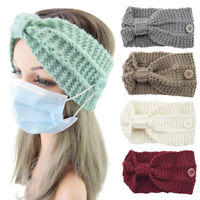 Elastic Knitted Hair Bands Women Headbands with Buttons Wool Knit Warm Headband