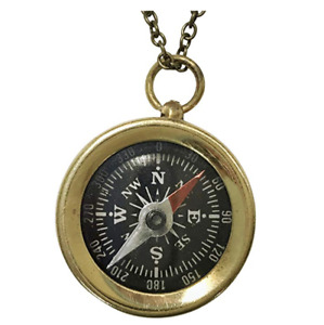 Vintage nautical brass compass necklace keychain