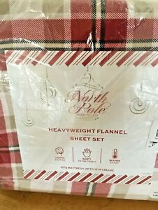 North Pole Trading Co. Heavyweight Flannel Sheet Set - King Size - Red Plaid