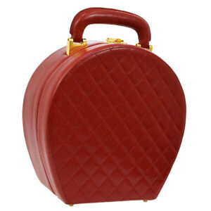 Auth CHANEL Quilted CC Logos Cosmetic Vanity Hand Bag Red Leather K08224b