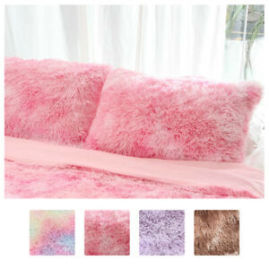2PCS Pillowcase Soft Fluffy Cushion Pillow Cover Tie Dyed Home Bed Sofa Decor