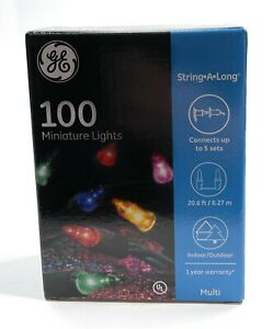 GE 100 Mini Lights Multi Color Christmas/Wedding String*A*Long Indoor/Outdoor