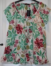 Dorothy Perkins White Red Green Leaf Flower Short Sleeve Cotton Top - 14