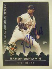 RAMON BENJAMIN signed 2010 GREENSBORO GRASSHOPPER baseball card AUTO Autographed