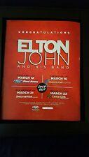 Elton John Rare Original Louisiana Florida Concert Promo Poster Ad Framed!