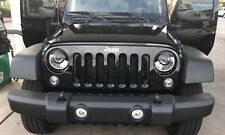 "7"" Round Headlight Decal Mad Angry Eyes Jeep CJ TJ JK Miata Ruckus Ford Chevy"