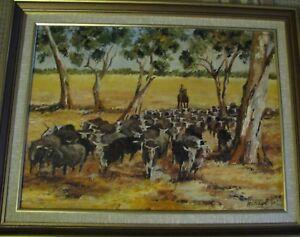 Noreen Hatcher original oil titled 'Moving them On' Australia