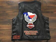 Harley Davidson Pathway Texas Eagle leather vest men's Large EUC