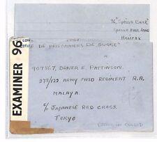 BH123 1942 WW2 GB Halifax Cover & Letter JAPANESE POW *Driver Pattinson* Tokyo