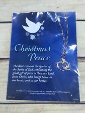 Christmas Peace Heart Dove Spirit of God Pendant Necklace Goldtone New Holiday
