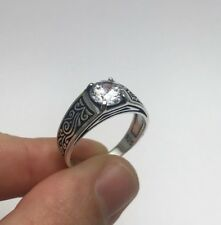 Turkish Ottoman Jewelry Square White Zircon 925K Sterling Silver Men's Ring