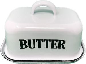 New Country Kitchen Vintage Style White Enamel Covered Butter Dish w/Lid