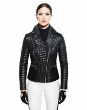NWT $695 DL2 BY DAWN LEVY MARLEY QUILTED LEATHER MOTO JACKET, BLACK, SIZE MEDIUM
