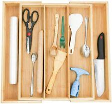 Kitchen Drawer Organizer Premium Cutlery and Utensil Tray Holder 100% Pure Bambo