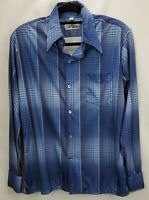 Vintage Spire California 70s Mens Button Down Shirt Large Blue Check Long Sleeve