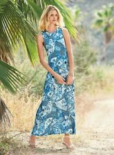 Peruvian Connection Tropicalia Blue Delft White Viscose Jersey Maxi Dress Small