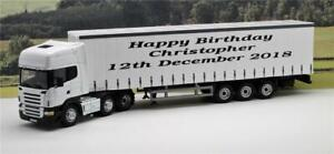 PERSONALISED Any Name or Message 1/50 33cm White Scania Lorry Truck Model Boxed
