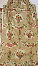 "Custom Lined Floral Baskets Drapery Panel 52""W X 93""L Tan Red Ivory Lovely"