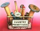 Country Primitives Chicken Wire Basket Filled with Vintage Spools and Bobbins