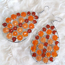 Lovely Womens Big Hollow Teardrop Orange Flowers Chandelier Dangle Hook Earrings