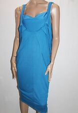 Milka & Gala Designer Blue V Neck Sleeveless Midi Dress Size L BNWT #TB07