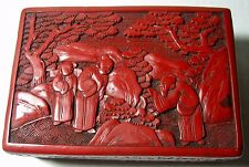 Cinnabar:  Chinese Art Hand-Carved Lacquer Rectangular Box circa 1900 -1930