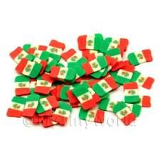2x 50 Mexican Flag Cane Slices - Nail Art (ens28)