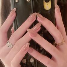 24PCS Summer Pink French Style Fake Nails Reusable Stick False Nail Tips