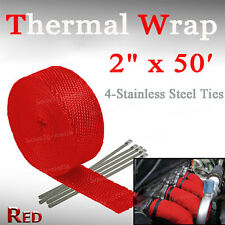 "2"" x 15M Manifold Header Exhaust Thermal Heat Tape Wrap Motorbike Red Fit Jeep"