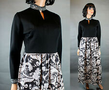70s Cocktail Gown Sz M Vintage Long Sleeve Black White Silver High Collar Dress