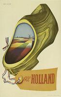 Holland  Vintage Illustrated Travel Poster Print Framed Canvas