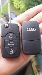 Coque Clé BOITIER Télécommande 3 Bouton Audi A1 A3 A4 A5 A6 A8 TT Q7 Pile CR1616