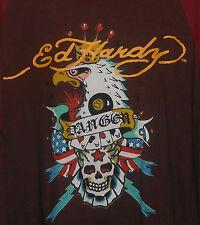 New ED HARDY Burgundy Brown + Eagle, Skull + Playing Card Design! Long Sleeve-XL