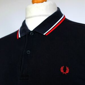 """Fred Perry Twin Tipped M1200 Polo (XL/2XL/46"""" - Navy) Mod Casuals 60's Terraces"""
