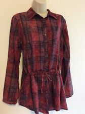 Maurices Red Blue Plaid Tunic Top M
