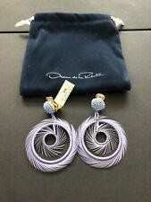 New Oscar De La Renta Feather Hoop Drop Earrings Blue Lilac