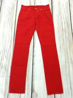 Ladies Lacoste Live Red Corduroy Cord Trousers Skinny Slim Size 27 BNWT