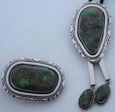 Navajo sterling silver Green VARISCITE big bolo tie belt buckle set John Nelson