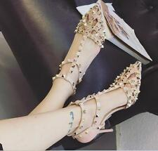 Womens Rivet Hollow Out Slingback Stilettos Sandals Pointed Toe High Heels Shoes